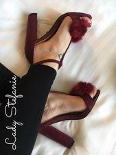 Bordeaux Plush High Heels 1
